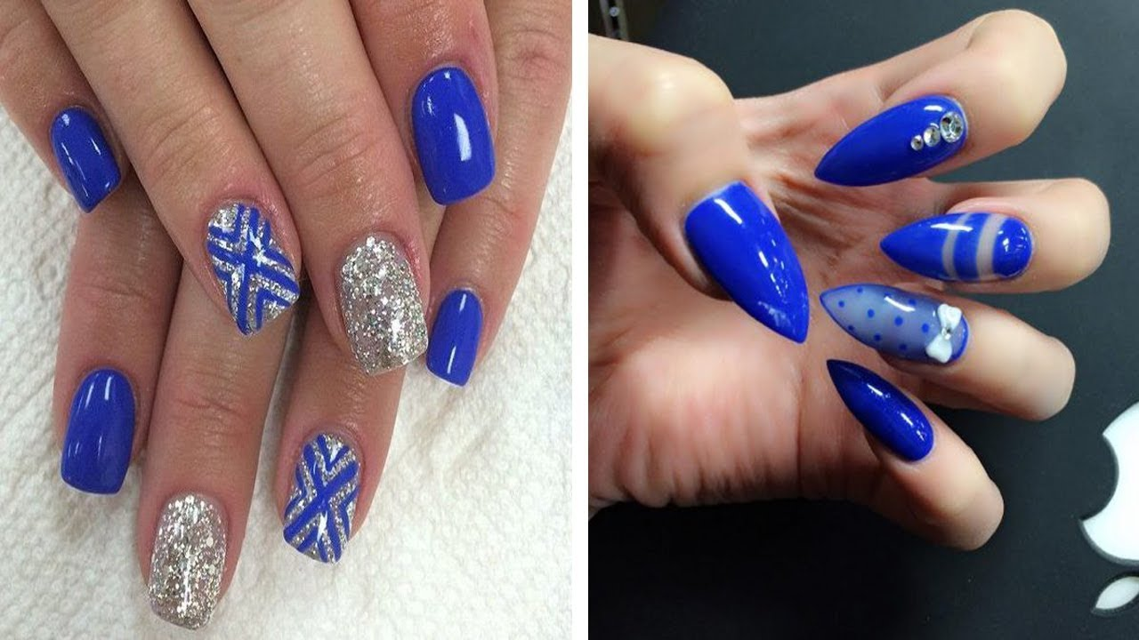 royal blue nail art design