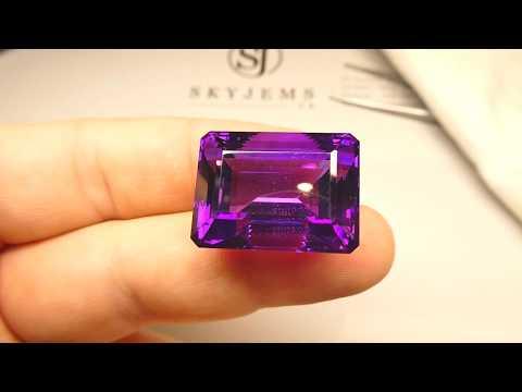 SOLD - 53.49 Ct Emerald Cut Amethyst IGI Certified - IGIAM0701