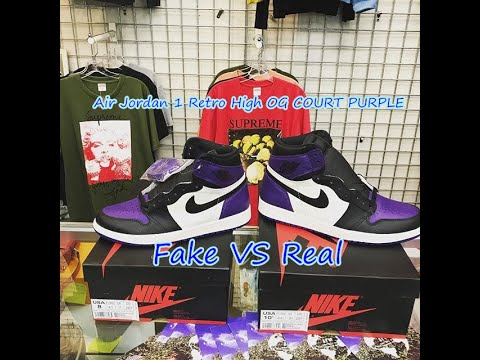 a9148477d7e FAKE VS REAL Air Jordan 1 Retro High OG COURT PURPLE - YouTube