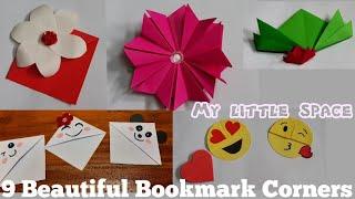 9 Diy Beautiful Bookmark corners | Emoji Bookmark diy | paper craft | My little space