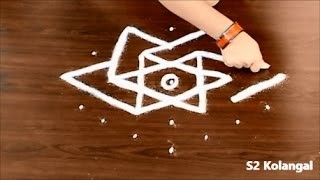 easy rangoli designs with 7 to 4 Interlaced dots - easy kolam designs - star rangoli