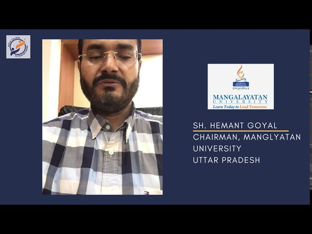 Y4AB Messages from Esteemed Institutional Partners- Sh Hemant Goyal, Chairman, Manglyatan University
