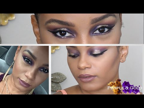 Bold Purple & Gold Glam MakeUp