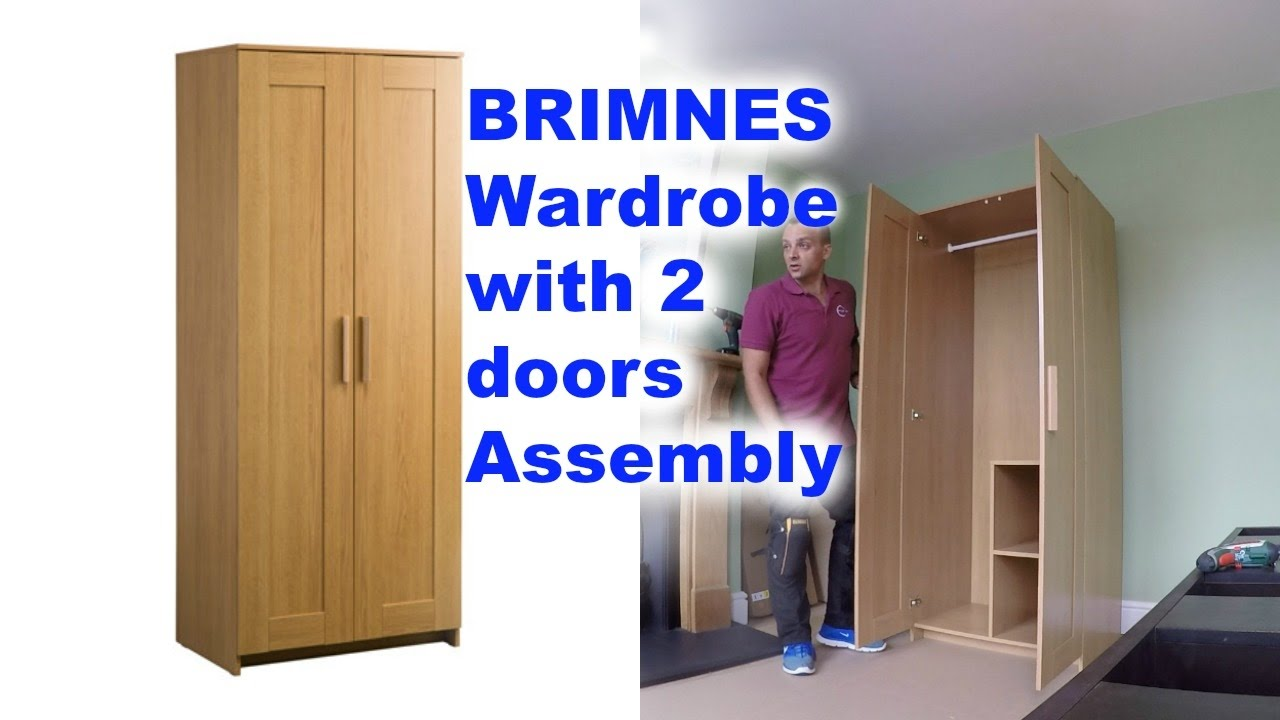 ikea brimnes 2 doors wardrobe assembly youtube. Black Bedroom Furniture Sets. Home Design Ideas