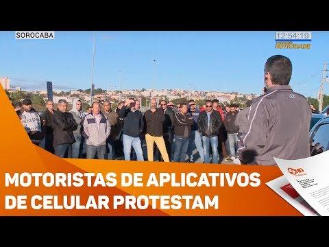 Motoristas de aplicativos de celular protestam - TV SOROCABA/SBT