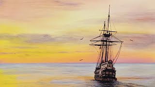 Sunset Ship Acrylic Painting LIVE Tutorial