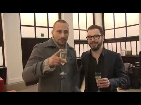 Matthias Schoenaerts and Michaël R. Roskam Celebrating Bullhead's Oscar Nomination In Flemish