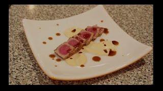 how to pan sear sesame ahi tuna with sriracha aioli and soy ginger sauce