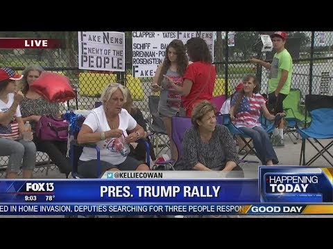 Supporters camp out ahead of President Trump's Tampa rally