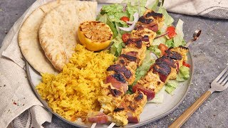 Chicken Kebabs with Yellow Rice