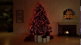 Christmas tree lightning decor home Happy New Year 2020 LOOP 3D