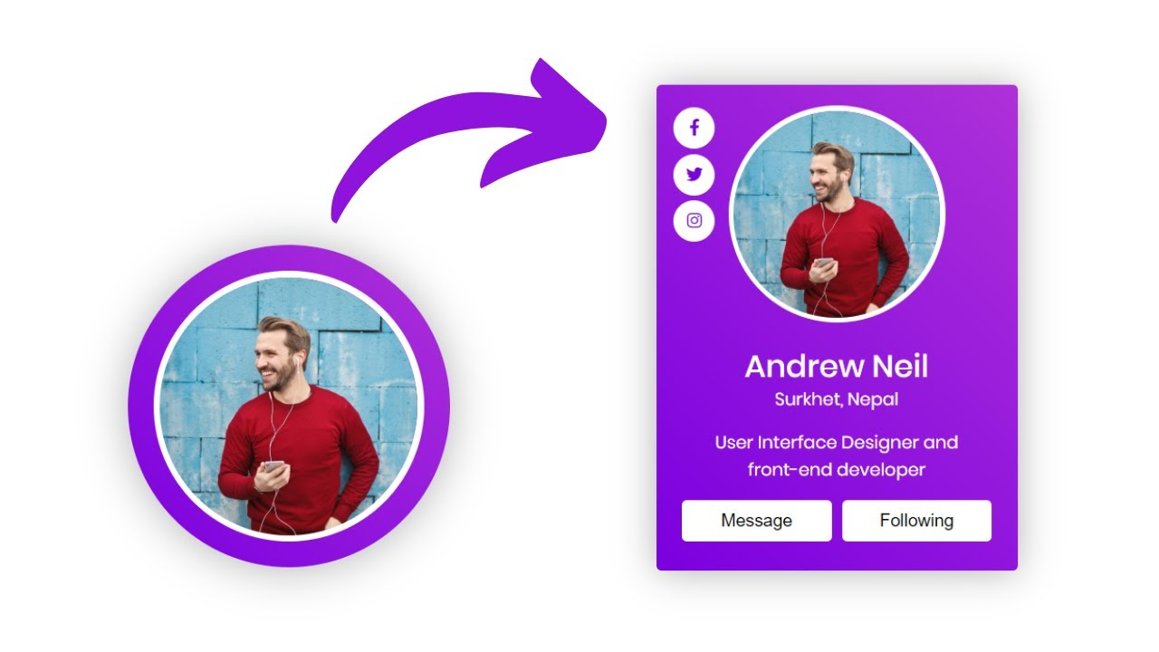 Animated Profile Card with Hover Animation in HTML CSS & JavaScript