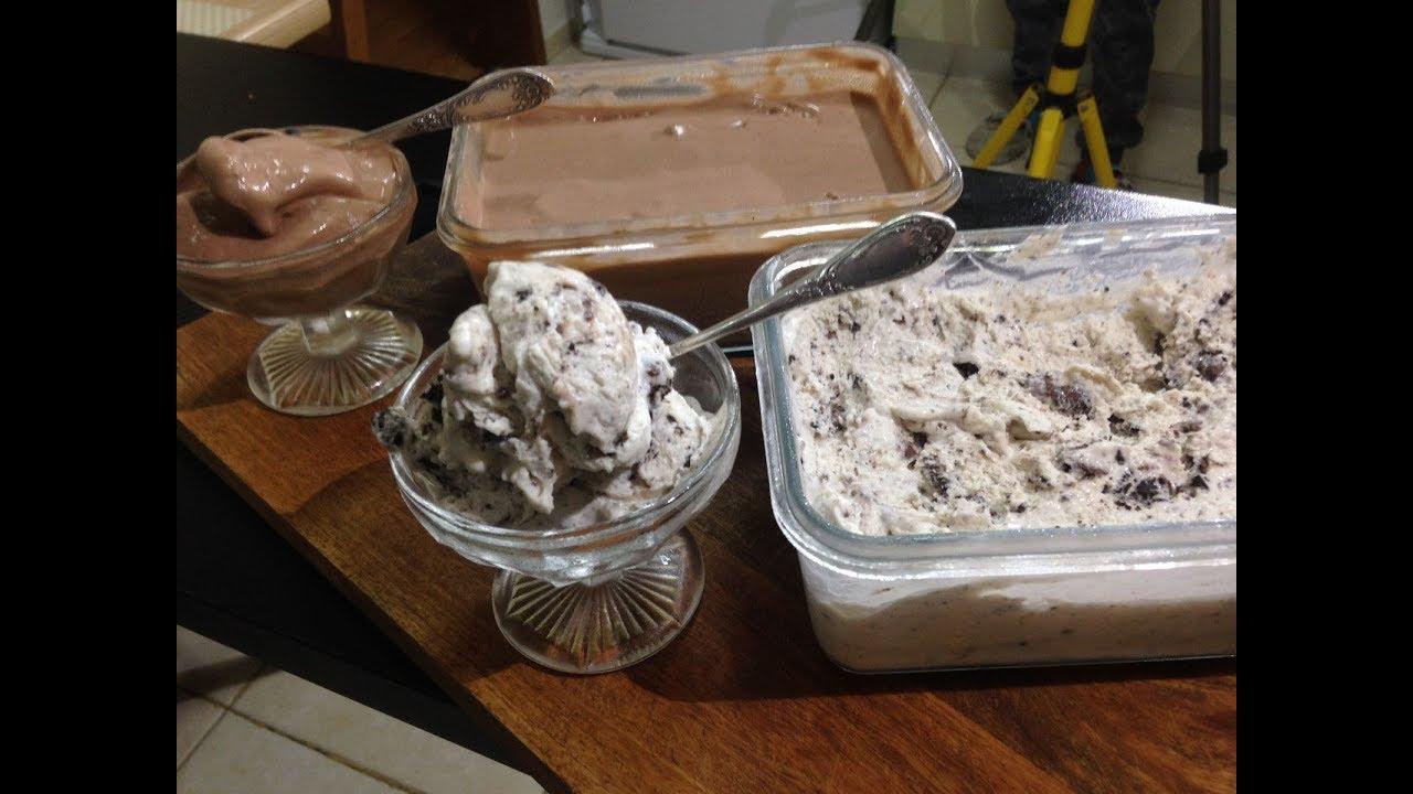 איך להכין גלידה על בסיס שמנת - שוקולד ועוגיות אוראו