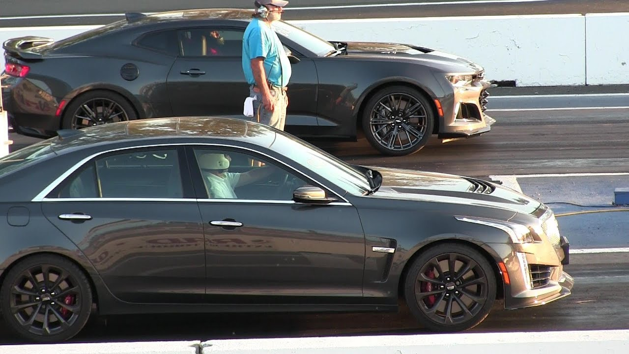 New 2017 Zl1 Vs 2017 Cts V Cadillac Drag Race Youtube