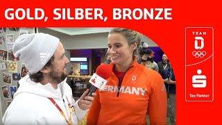 Deutsches Haus feiert Doppelerfolg von Natalie Geisenberger und Dajana Eitberger   Team Deutschland