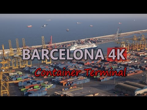 Ultra HD 4K Barcelona Travel Container Terminal Tourism Port