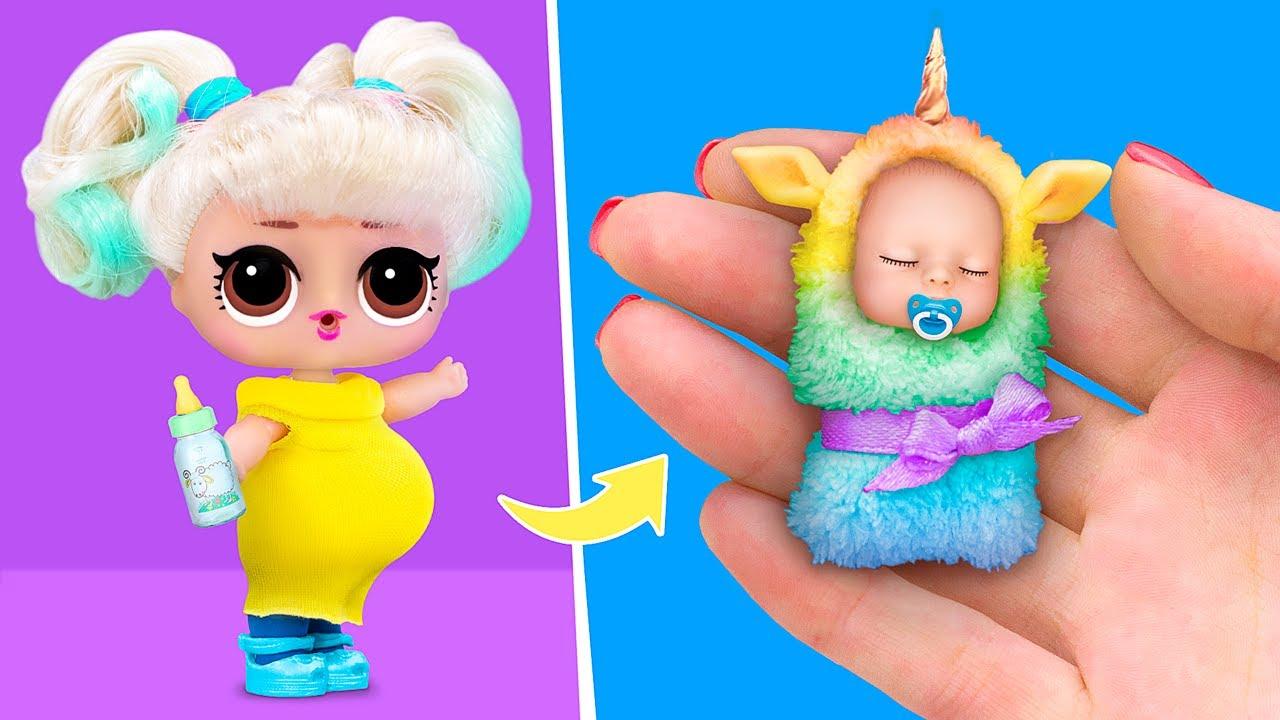 10가지 아기 인형 핵과 공예 만들기 / 미니어쳐 아기, 아기 침대, 기저귀와 여러가지!