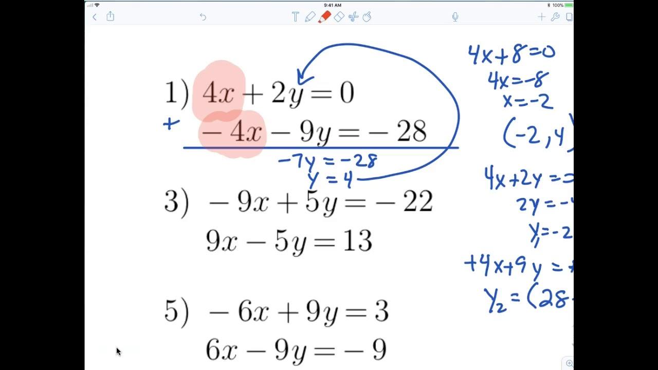 7th grade ALgebra 1 Elimination method - YouTube