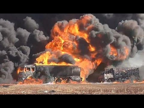 ISIS Oil Trucks destroyed along Syria Iraq Border - 280 Oil Tankers destroyed