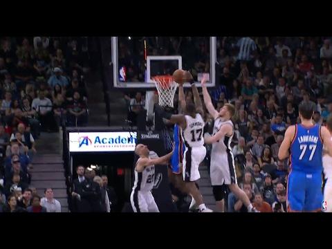 Jonathon Simmons Chase Down Block Leads To David Lee Dunk in San Antonio | 01.31.17