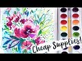 Cheap Art Supplies Challenge! Crayola Watercolors & Brushes Flowers Painting