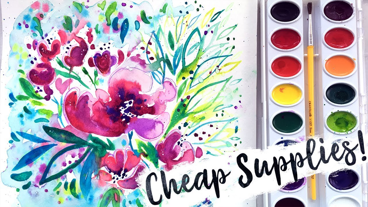 Watercolor Flowers And Paint Brushes: Cheap Art Supplies Challenge! Crayola Watercolors