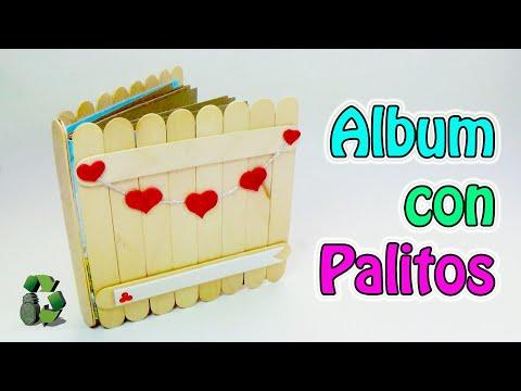 Manualidades album con palitos de helados reciclaje - Manualidades con palitos ...
