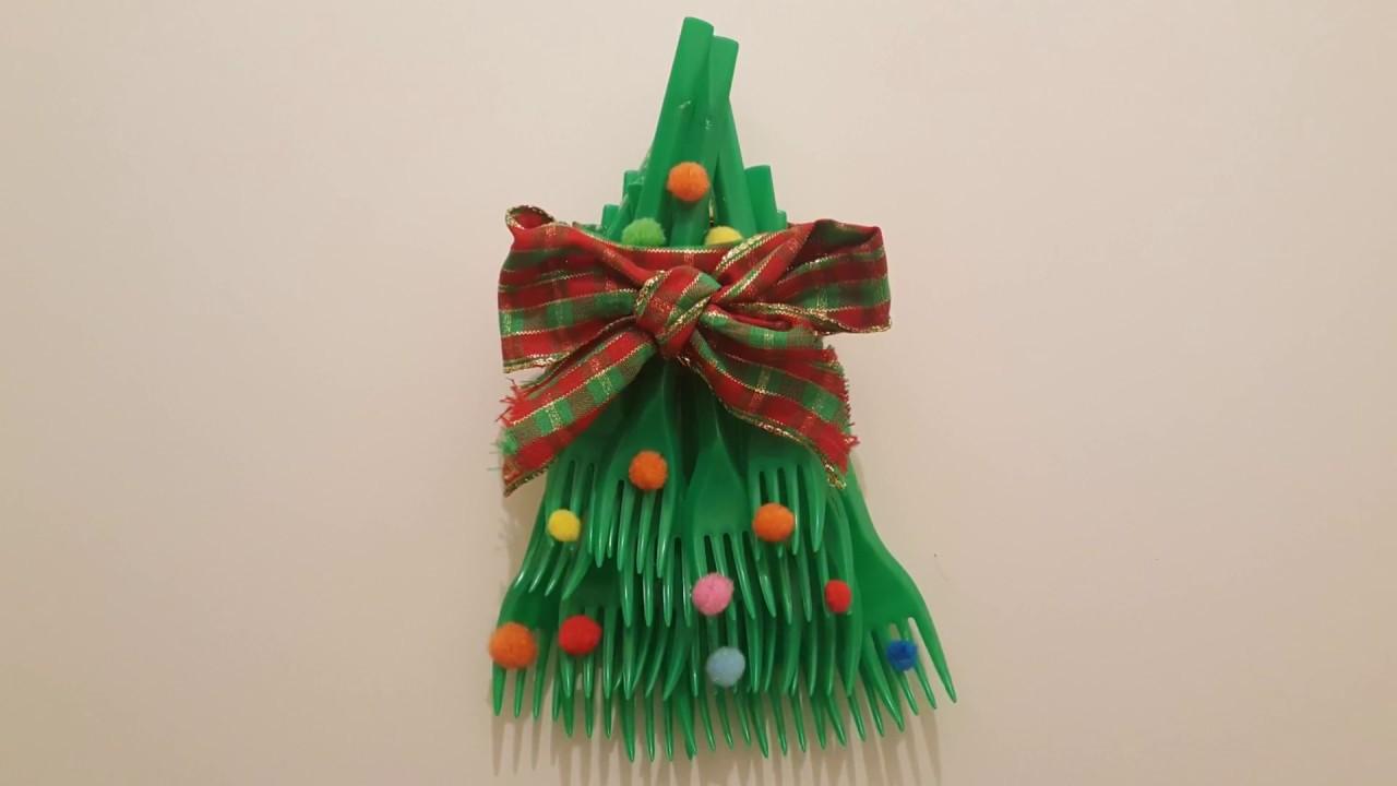 Stella Di Natale Con Bottiglie Di Plastica.Albero Di Natale Fatto Con Forchette Bimbi Creativi 55