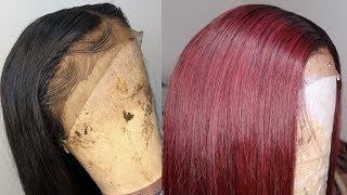 WATER METHOD - HOW TO DYE A 1B  WIG TO BURGUNDY RED FT DBK HAIR  VERY DETAILED