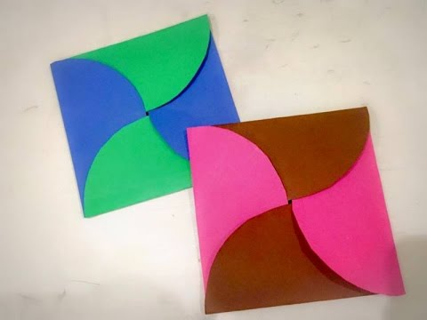 Diy easy paper envelope origami birthday card for kids for How to make a paper design