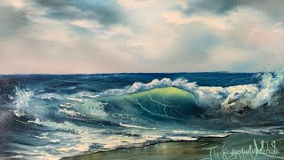 How To Paint A Seascape And Wave For Beginners Full Tutorial - Paintings By Justin