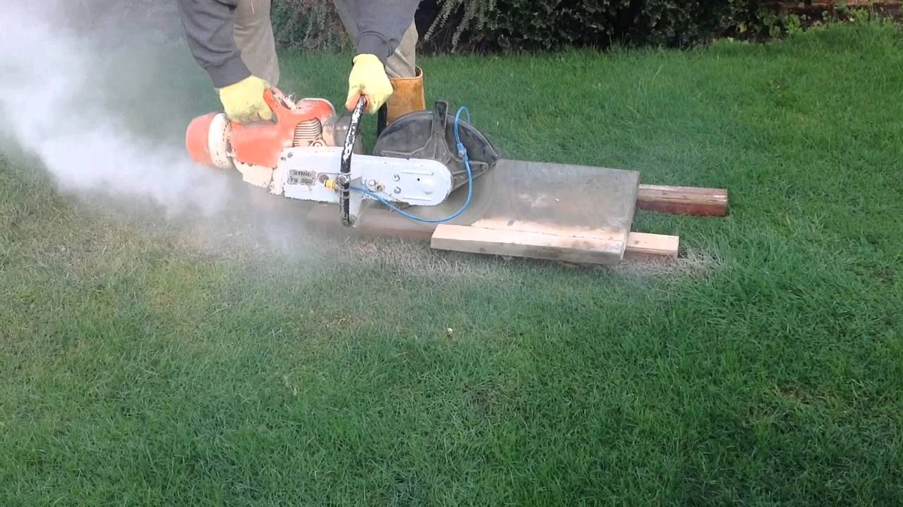 Stihl TS350 Cut Off Saw, Dry And Wet Cutting Paving Slabs.   YouTube