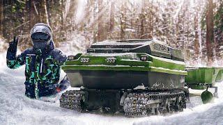 Вездеход мото буксировщик Ростин, испытания в глубоком снегу!