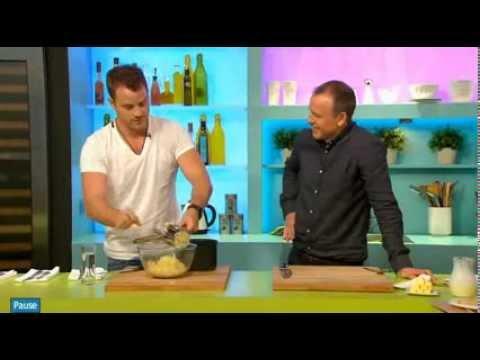 Rob Kazinsky cooking on Sunday Brunch Channel 4