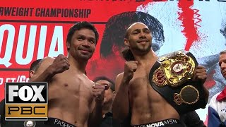 Watch the full weigh-ins of Pacquiao vs Thurman and Caleb Plant vs Mike Lee | WEIGH-INS | PBC ON FOX