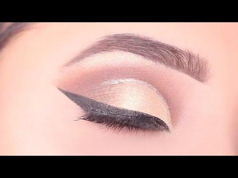 simple glitter cut crease eye makeup  simple easy eye