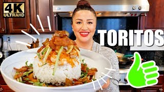 TORTITOS DE CAMARON MEXICAN STYLE SHRIMp BACON AND CHILI RICE BOWL WITH CITRUS SOY DRESSING