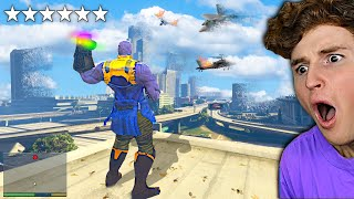 Playing As THANOS v.s 6 STAR WANTED LEVEL In GTA 5.. (Mods)