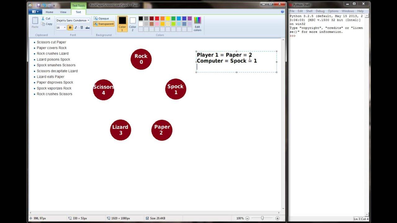 python tutorial v325 project 3 rock paper scissors lizard spock