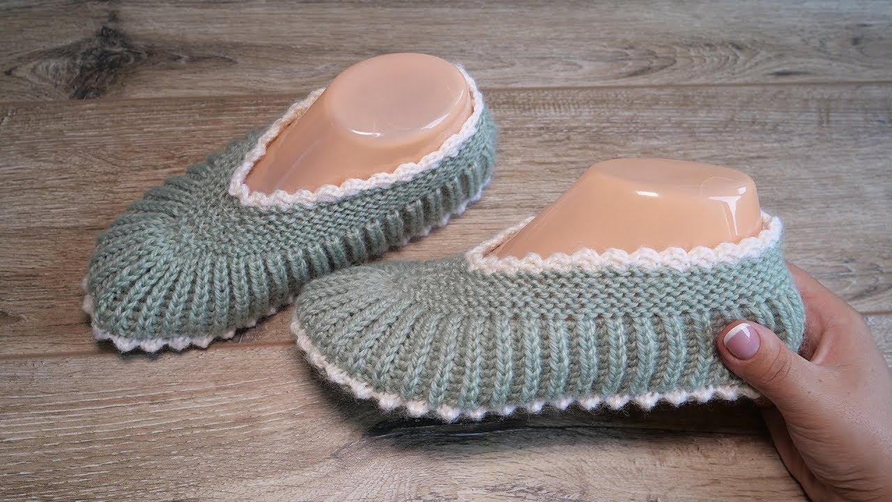 Домашние уютные следки спицами | Homemade slippers knitting pattern