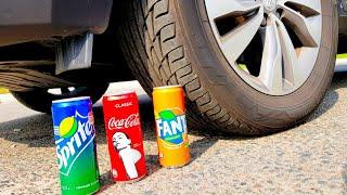 Давим Coca-Cola Fanta Sprite Тест на прочность Выпить или Раздавить EXPERIMENT: CAR VS