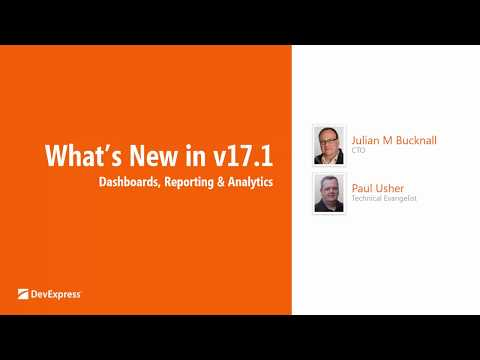 New in v17.1: Dashboards, Reporting and Data Analytics