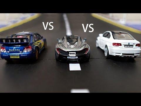 Subaru Impreza WRC VS McLaren P1 VS BMW M3 - Diecast Cars Race 4