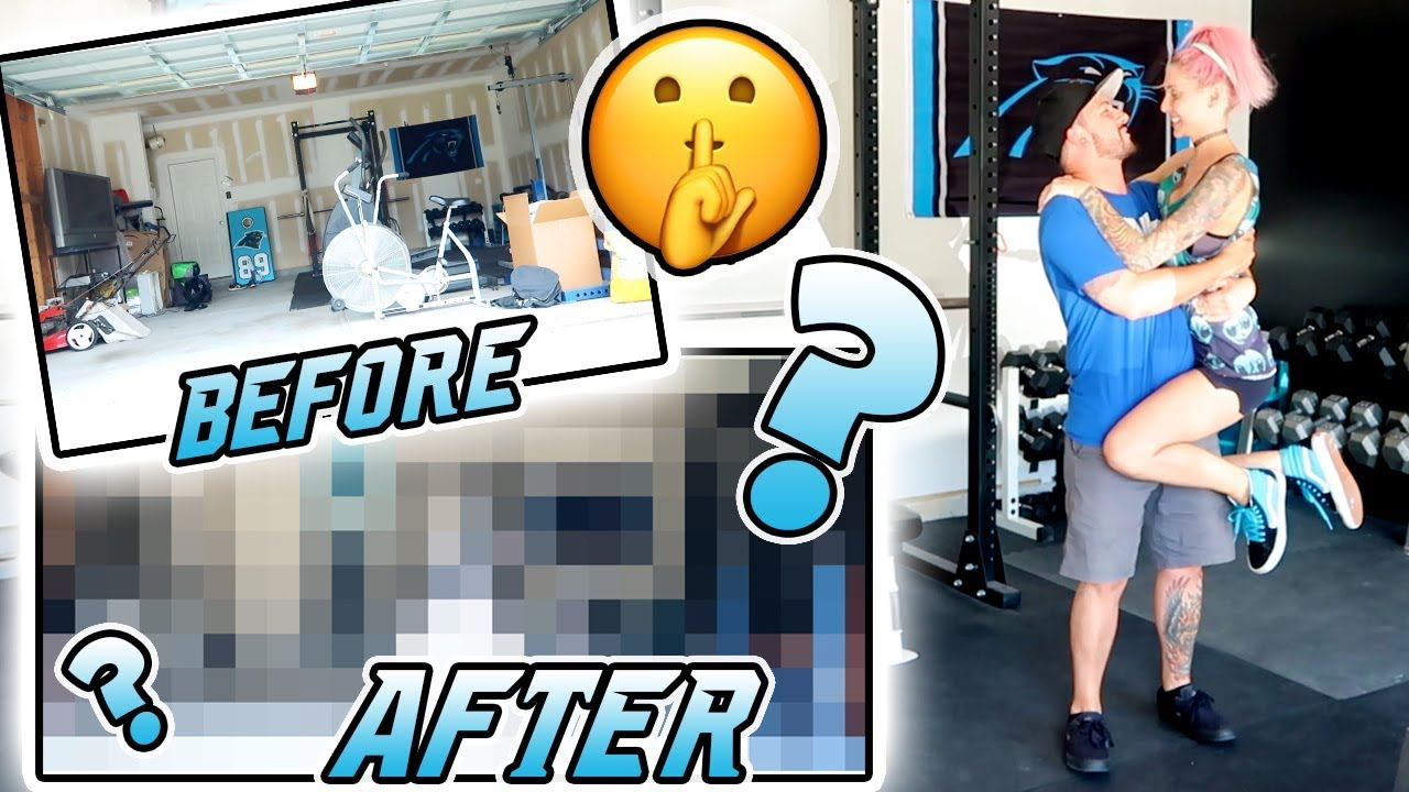 Surprising my fiancÉ home makeover garage gym edition youtube