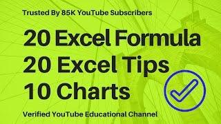 20 Excel Formula -20 Excel Tips -10 Excel Charts☑️