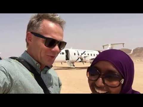 Fatumo och Stefan på Boosaaso military airport