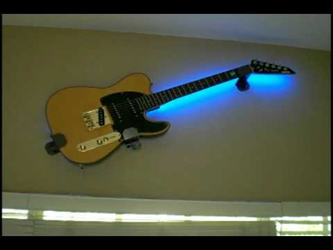 Fender Guitar With A 1 Meter Flexible Led Kit Behind It