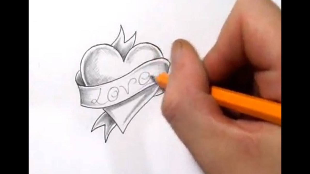 heart and banner tattoo design with love - quick sketch - youtube