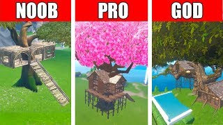 Fortnite NOOB vs PRO vs GOD: Jungle Tree House Build Challenge in Fortnite