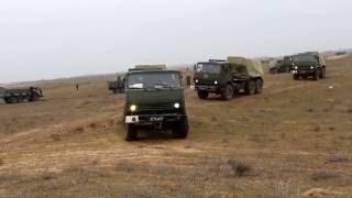 Прибытие подразделений артиллерийской и мотострелковой бригад ЮВО на полигон